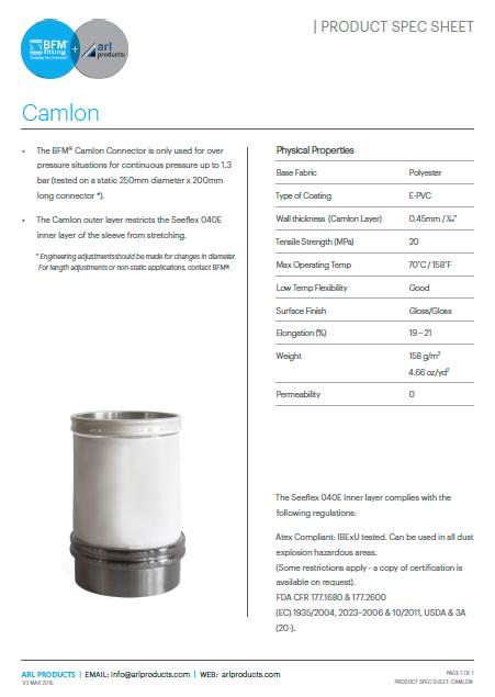 Camlon Spec Sheet