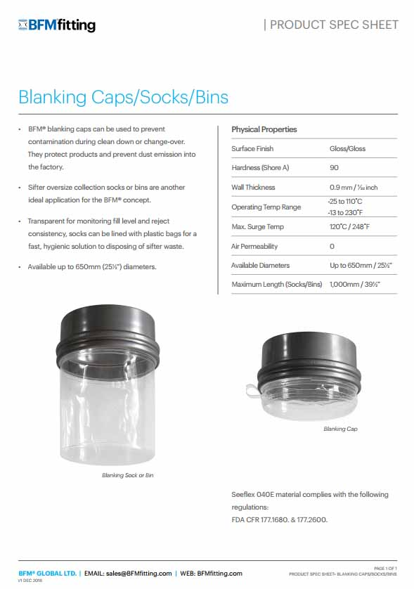 Blanking Cap Spec Sheet